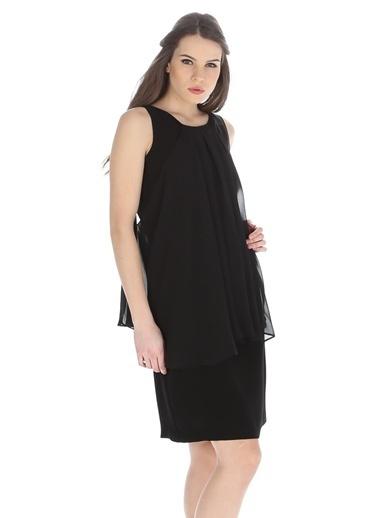 Cotton Bar Kolsuz Şifon Elbise Siyah